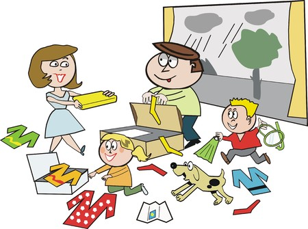 Family vacation packing cartoon Stock Vector - 7142275