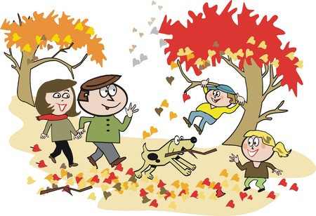Happy family autumn hiking cartoon Vector