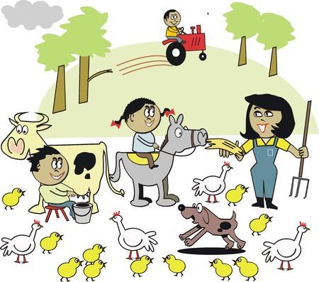 lady cow: African family farm cartoon