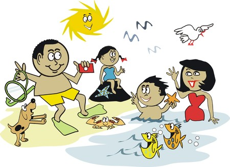 African family beach cartoon Vector