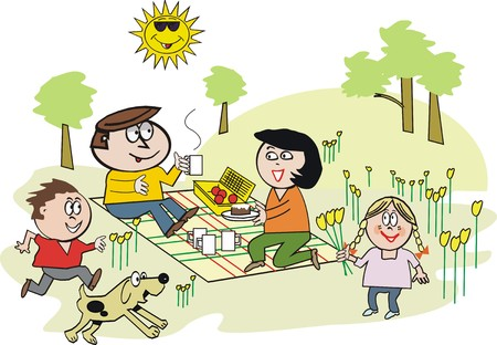 family eating: Happy family picnic cartoon