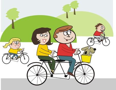 Caricatura de ciclismo familia feliz