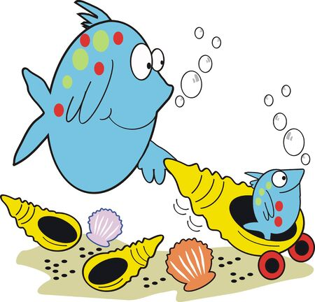 colorful fish: Mother and baby fish cartoon