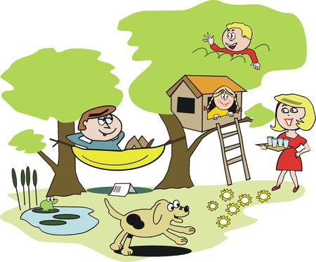 Happy family garden cartoon Vector