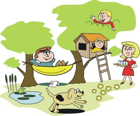 Happy family garden cartoon Vector