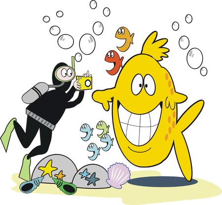 Underwater photography cartoon Vector