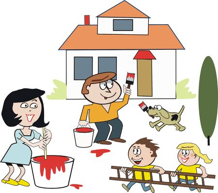 Family painting house cartoon Vector