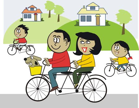 happy family outdoor: African family cycling cartoon Illustration