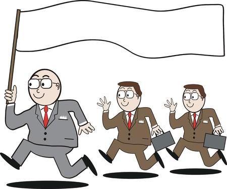 briefcase: Business leadership cartoon Illustration