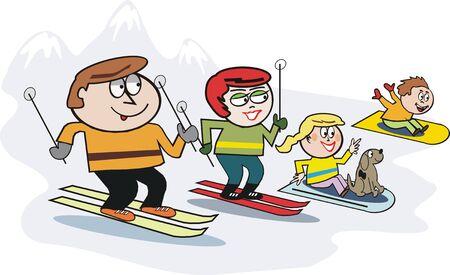 snow man: Family skiing cartoon