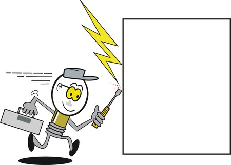 introducing: Caricatura de bombilla de luz de Funny  Vectores