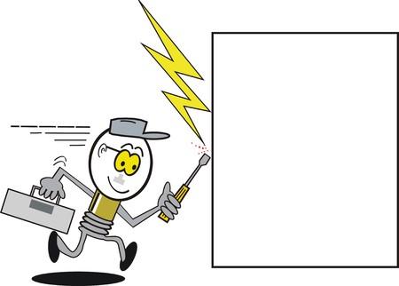 Funny running light bulb cartoon Vetores