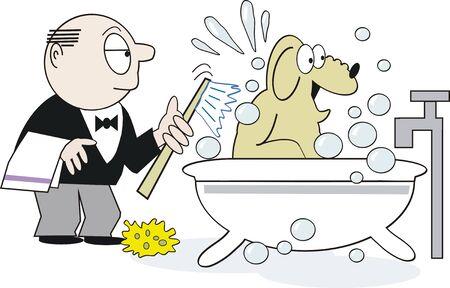 Caricatura de baño de perro  Foto de archivo - 7288960