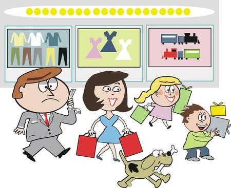 departamentos: Dibujos animados de la familia shoppingt  Vectores