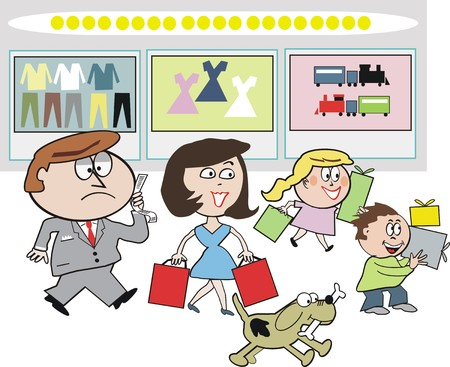 departments: Family shoppingt cartoon Illustration