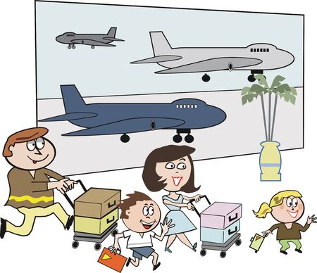 Happy family airport travel cartoon