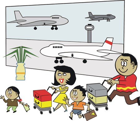 airport: African family airport cartoon