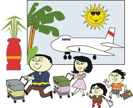 asian family: Asian family travel cartoon