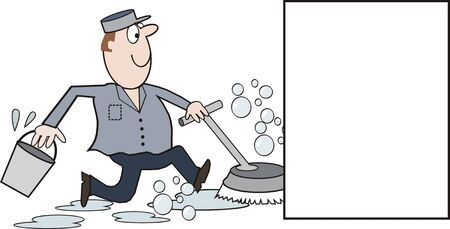 Cleaning man cartoon