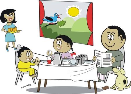 Cartoon afrykańskiego rodziny śniadanie