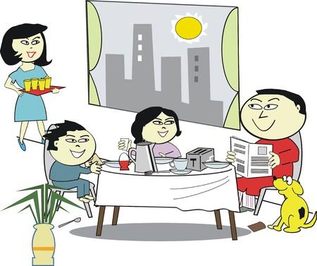 asian family: Asian family breakfast cartoon