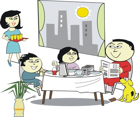 familia asiatica: Caricatura de Asia desayuno familiar  Vectores