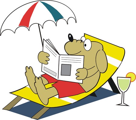 reading glass: Dog relaxing cartoon Illustration