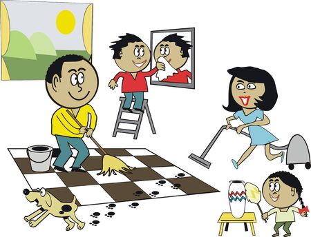 African family cleaning cartoon