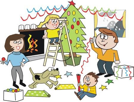 Happy family Christmas cartoon Stock Vector - 7375549