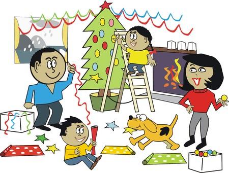African family Christmas cartoon Vector