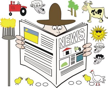 Rural newspaper cartoon Stock Vector - 7375548
