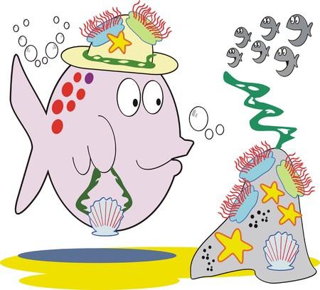 model fish: Fish fashion cartoon Illustration