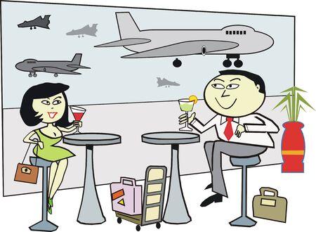 Asian couple travel cartoon Vector