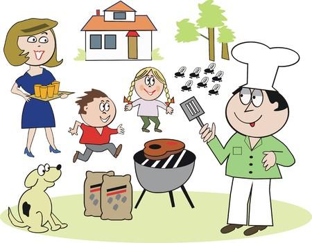 Family barbecue cartoon Vector