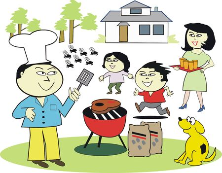 Asian family barbecue cartoon Stock Vector - 7429091