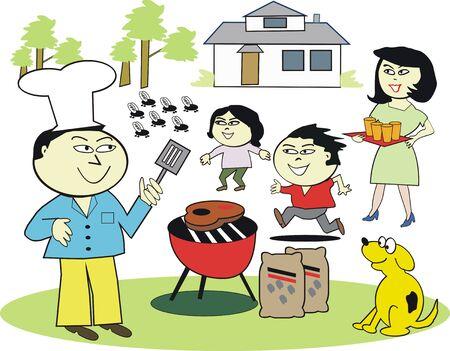 Asian family barbecue cartoon Vector