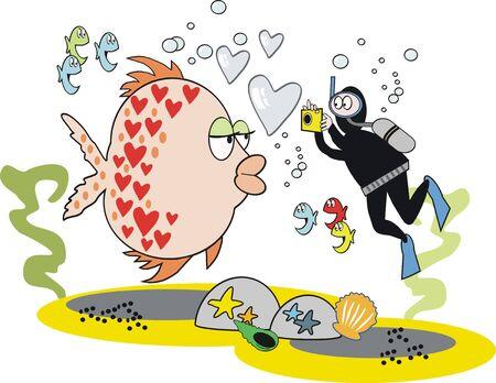 skin diving: Fish cartoon