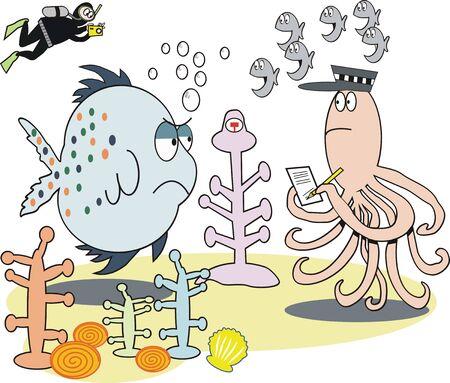Fish underwater cartoon Vector