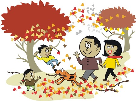 African family autumn cartoon Vector