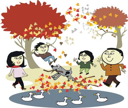 Asian family walking cartoon Vector