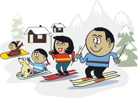 African family skiing cartoon Stock Vector - 7450884