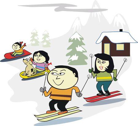 asian family: Asian family winter sport cartoon