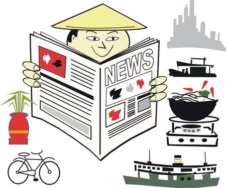 coolie hat: Asian newspaper cartoon