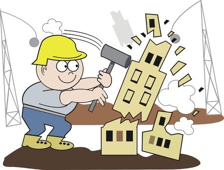 Demolition worker cartoon Illustration