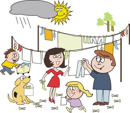 Family washing cartoon Vector