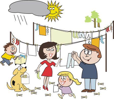 Family washing cartoon Stock Vector - 7467165