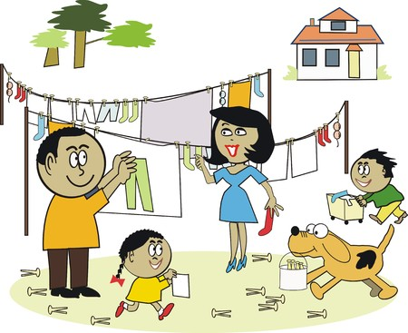 work task: African family laundry cartoon Illustration