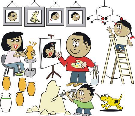 the creator: Happy artist family cartoon
