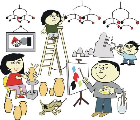 Asian family art hobby cartoon