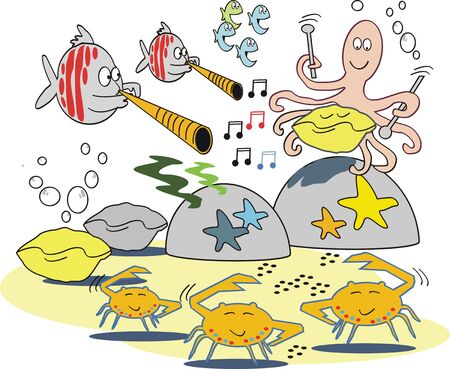 Musical fish cartoon Vector